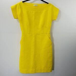 Shoshanna Yellow Boat Neck Shift Dress